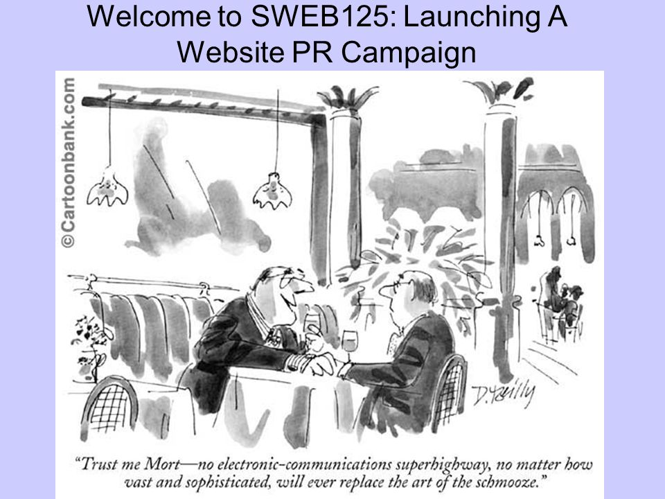Welcome to SWEB125: Launching A Website PR Campaign