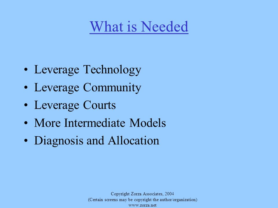 Copyright Zorza Associates, 2004 (Certain screens may be copyright the author/organization)   What is Needed Leverage Technology Leverage Community Leverage Courts More Intermediate Models Diagnosis and Allocation