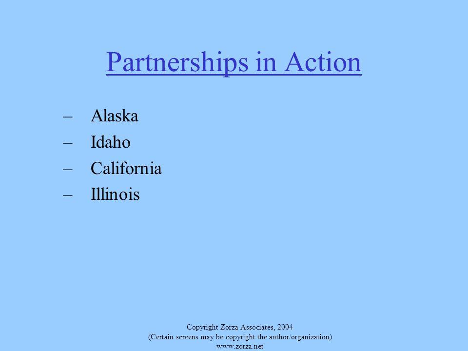 Copyright Zorza Associates, 2004 (Certain screens may be copyright the author/organization) www.zorza.net Partnerships in Action –Alaska –Idaho –California –Illinois