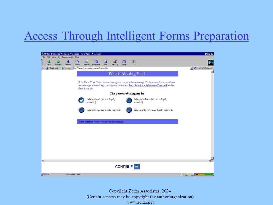 Copyright Zorza Associates, 2004 (Certain screens may be copyright the author/organization) www.zorza.net Access Through Intelligent Forms Preparation