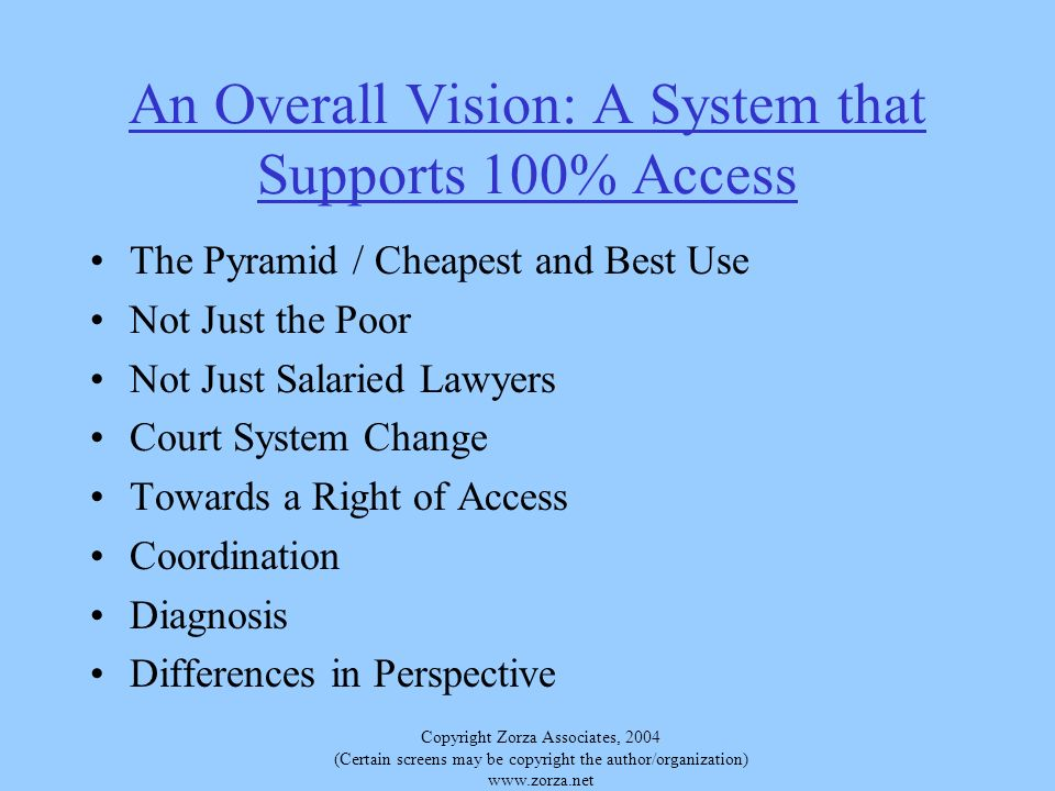 Copyright Zorza Associates, 2004 (Certain screens may be copyright the author/organization)   An Overall Vision: A System that Supports 100% Access The Pyramid / Cheapest and Best Use Not Just the Poor Not Just Salaried Lawyers Court System Change Towards a Right of Access Coordination Diagnosis Differences in Perspective