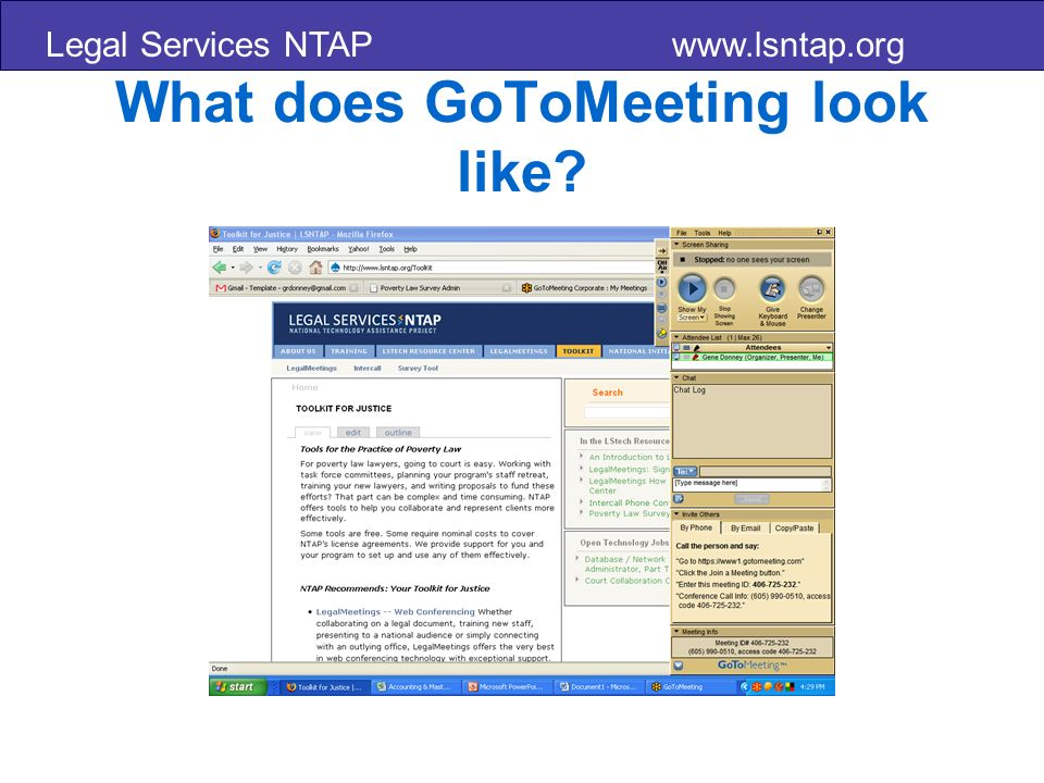 Legal Services NTAP www.lsntap.org What does GoToMeeting look like