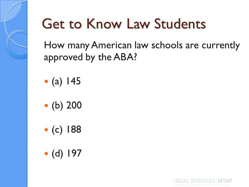Get to Know Law Students How many American law schools are currently approved by the ABA.