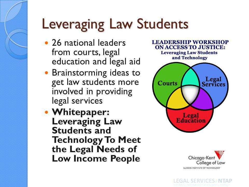 26 national leaders from courts, legal education and legal aid Brainstorming ideas to get law students more involved in providing legal services Whitepaper: Leveraging Law Students and Technology To Meet the Legal Needs of Low Income People Leveraging Law Students