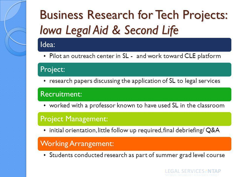 Business Research for Tech Projects: Iowa Legal Aid & Second Life Idea: Pilot an outreach center in SL - and work toward CLE platform Project: research papers discussing the application of SL to legal services Recruitment: worked with a professor known to have used SL in the classroom Project Management: initial orientation, little follow up required, final debriefing/ Q&A Working Arrangement: Students conducted research as part of summer grad level course