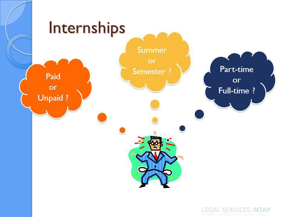 Internships Part-time or Full-time Summer or Semester Paid or Unpaid Paid or Unpaid