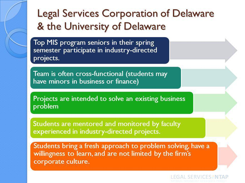 Legal Services Corporation of Delaware & the University of Delaware Top MIS program seniors in their spring semester participate in industry-directed projects.