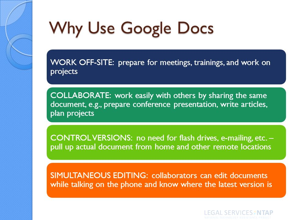 Why Use Google Docs WORK OFF-SITE: prepare for meetings, trainings, and work on projects COLLABORATE: work easily with others by sharing the same document, e.g., prepare conference presentation, write articles, plan projects CONTROL VERSIONS: no need for flash drives, e-mailing, etc.