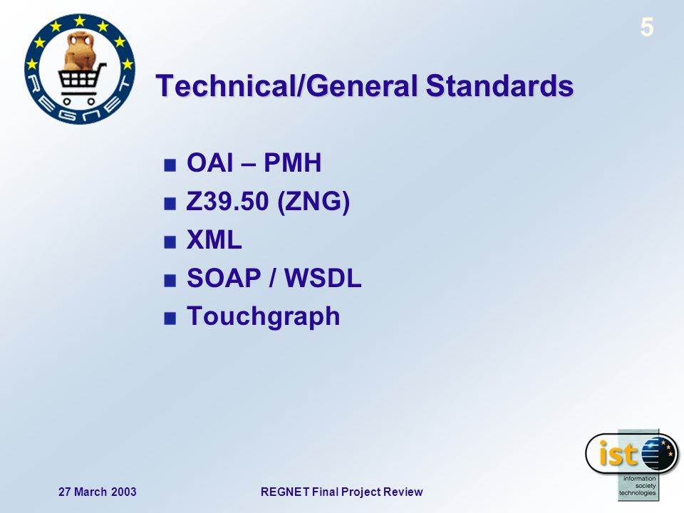 27 March 2003REGNET Final Project Review 5 Technical/General Standards OAI – PMH Z39.50 (ZNG) XML SOAP / WSDL Touchgraph