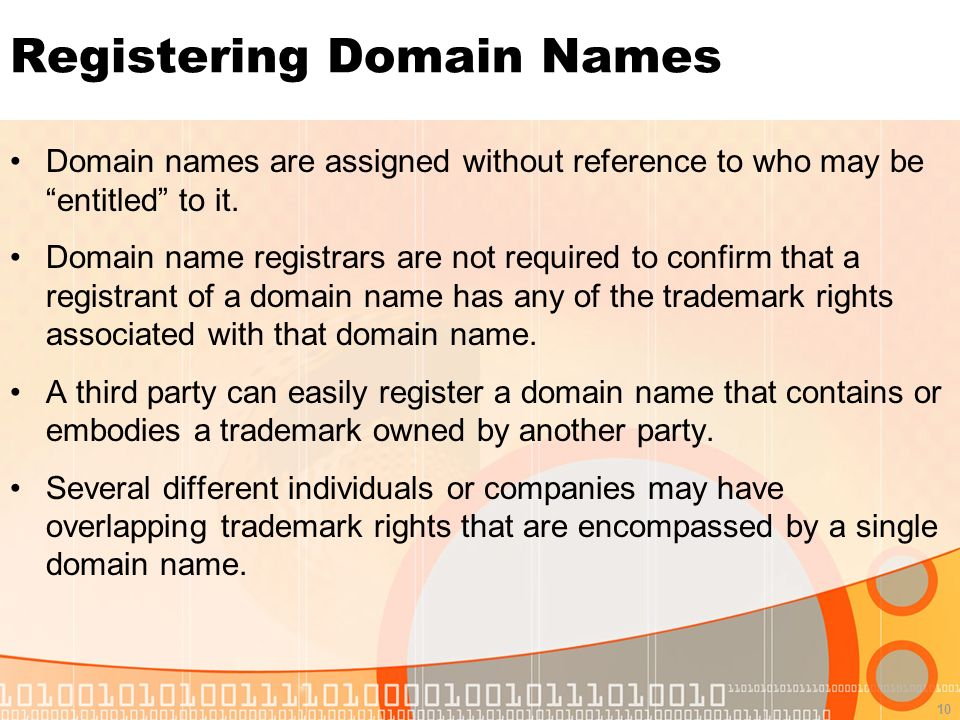 10 Registering Domain Names Domain names are assigned without reference to who may be entitled to it.