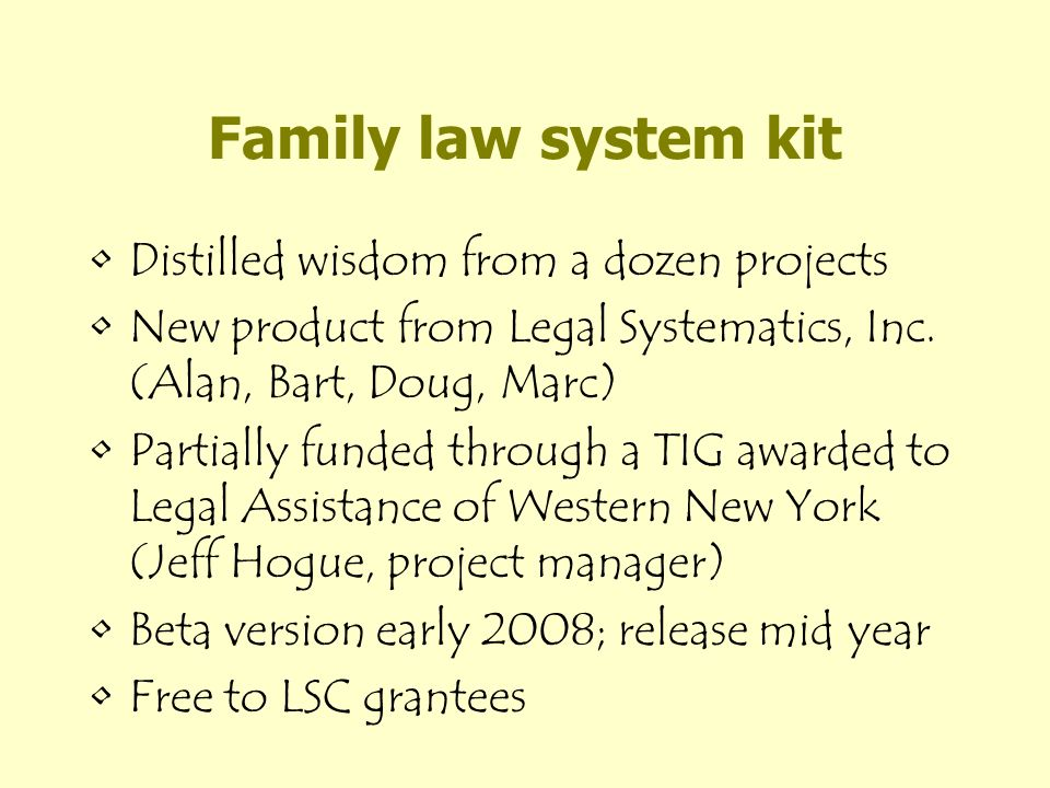 Kit contents Model component file - data variables, computations, dialogs, interview(s) Component documentation Illustrative support for –both advocates and pro se users –foreign languages Collection of issues/solutions, covering e.g.