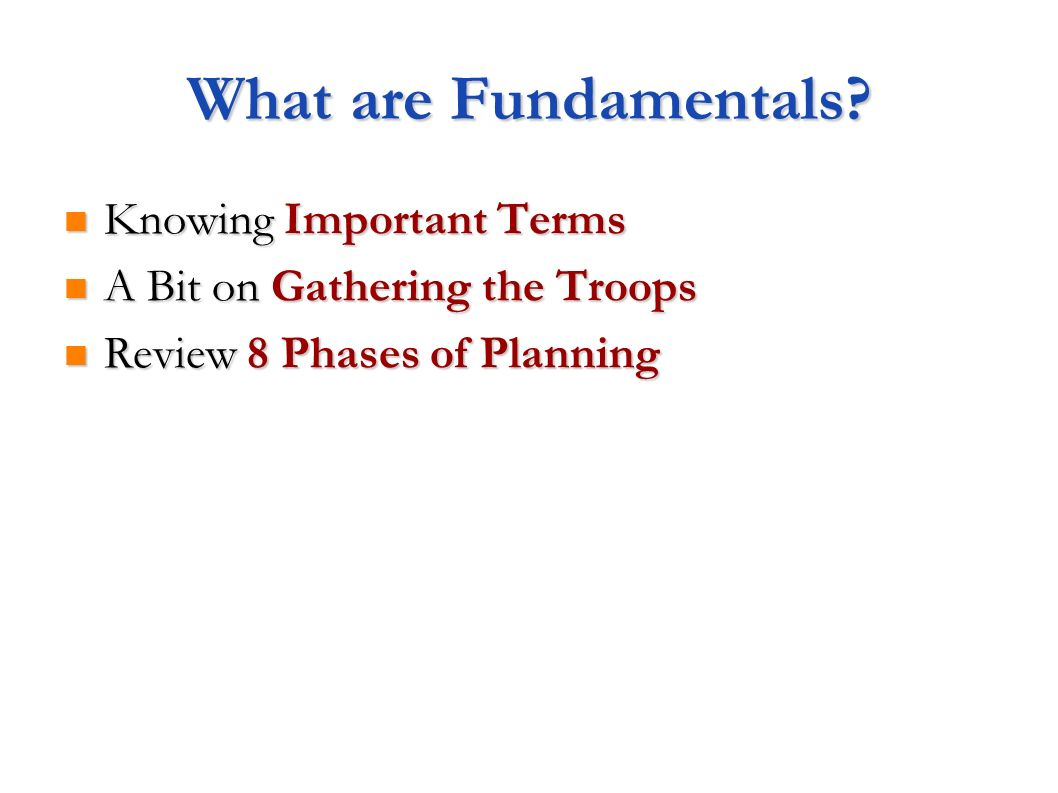 What are Fundamentals.