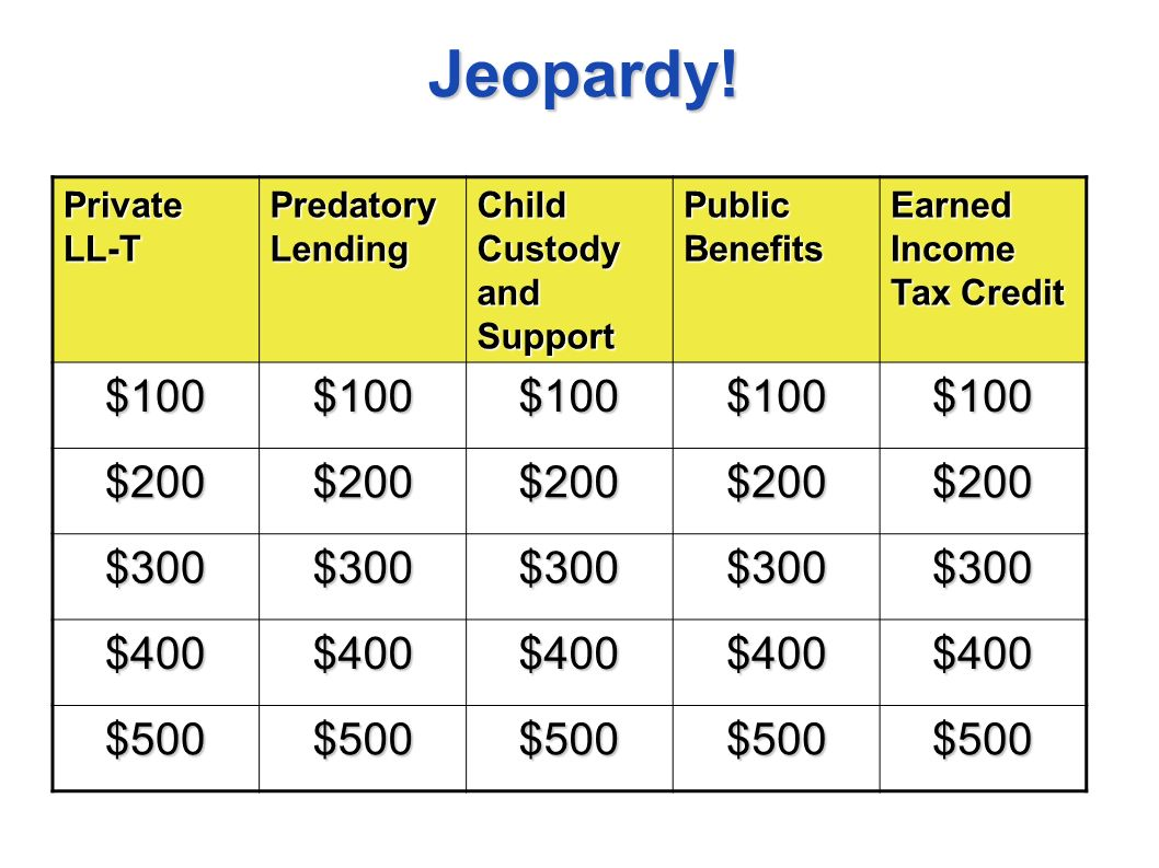 Jeopardy! Private LL-T Predatory Lending Child Custody and Support Public Benefits Earned Income Tax Credit $100$100$100$100$100 $200$200$200$200$200