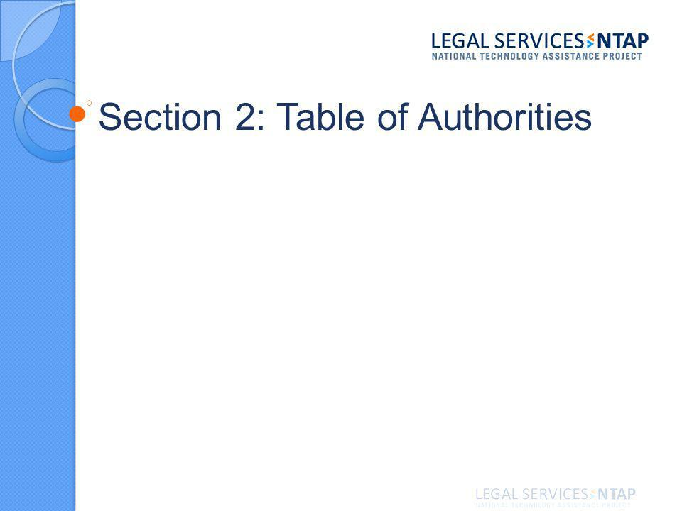 Section 2: Table of Authorities