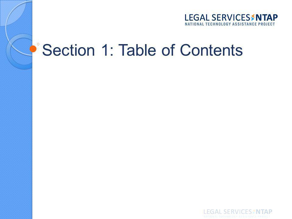 Section 1: Table of Contents
