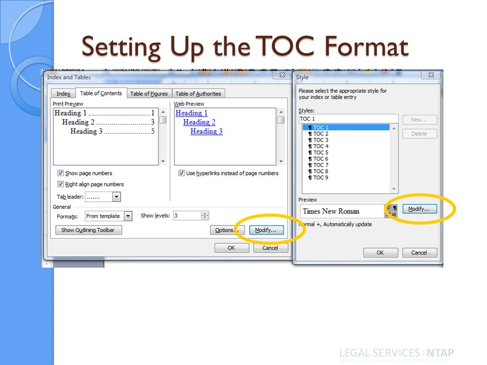 Setting Up the TOC Format