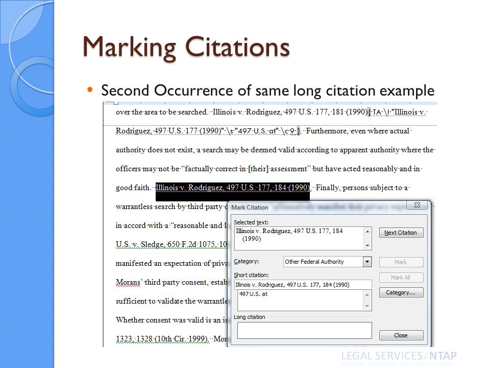 Marking Citations Second Occurrence of same long citation example