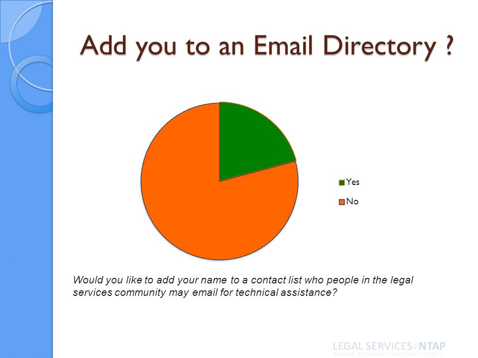 Add you to an Email Directory ? Would you like to add your name to a contact list who people in the legal services community may email for technical a