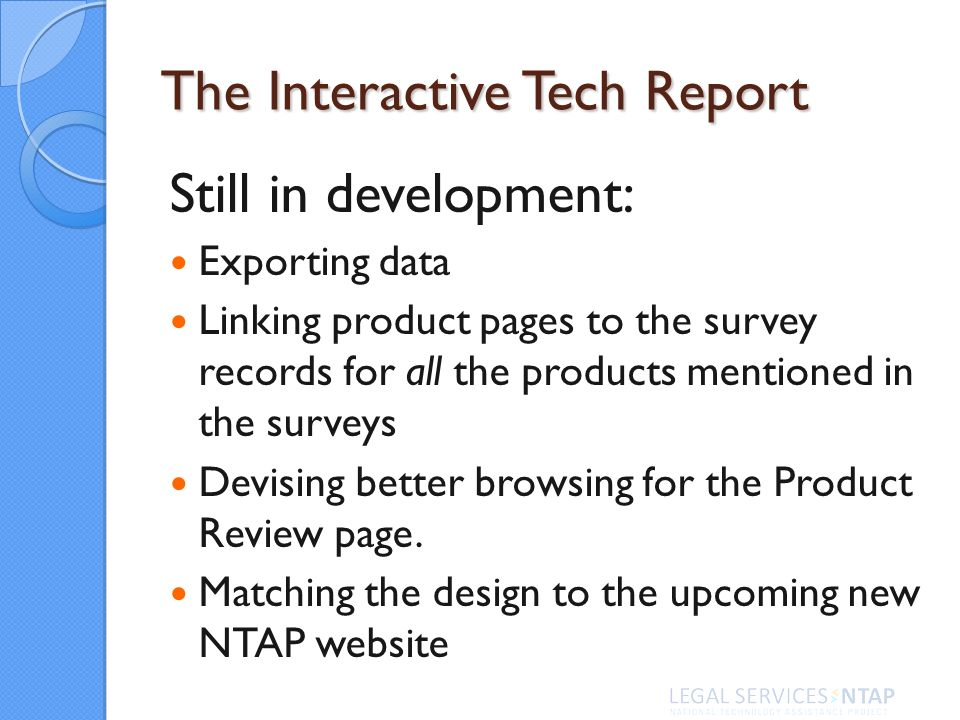 The Interactive Tech Report Still in development: Exporting data Linking product pages to the survey records for all the products mentioned in the sur