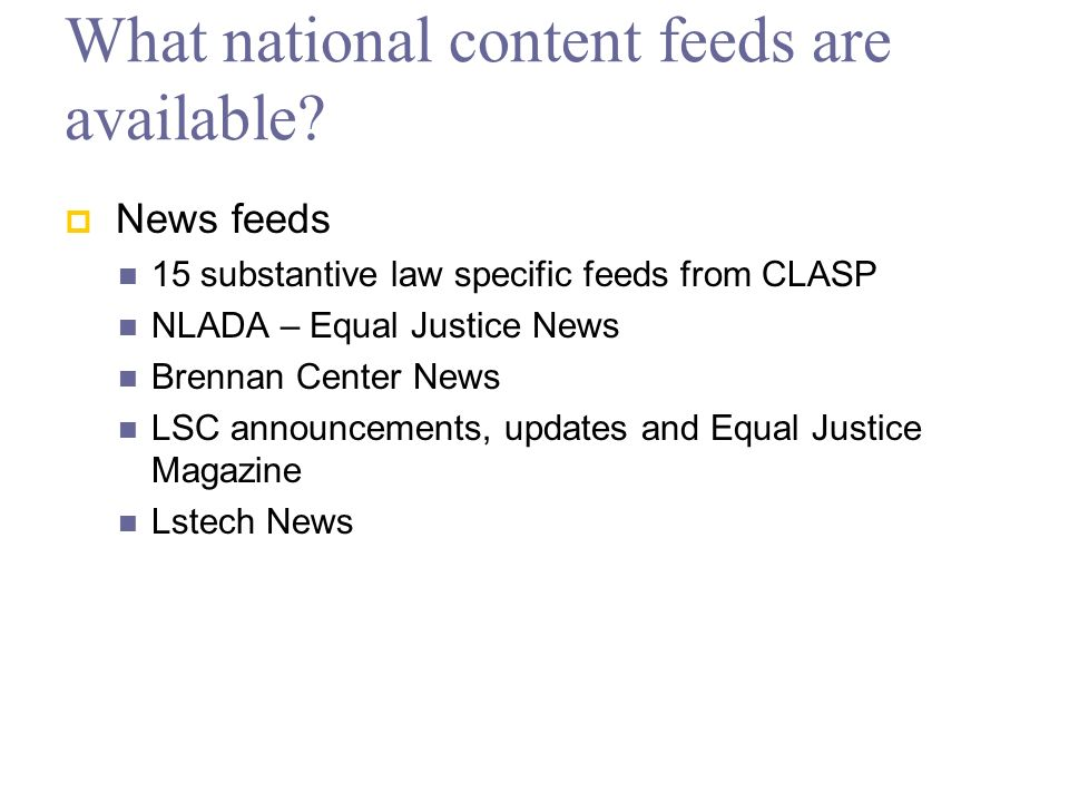 What national content feeds are available.