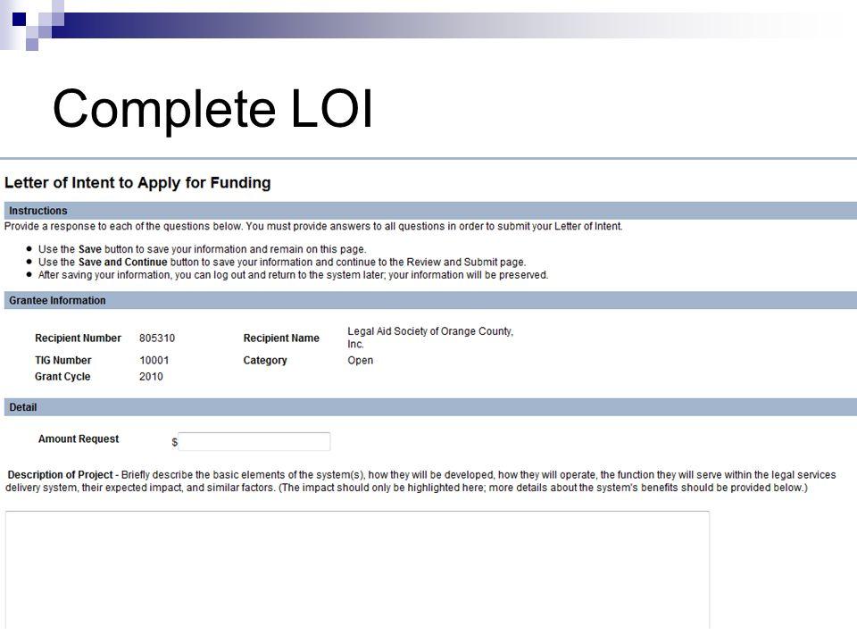 Complete LOI