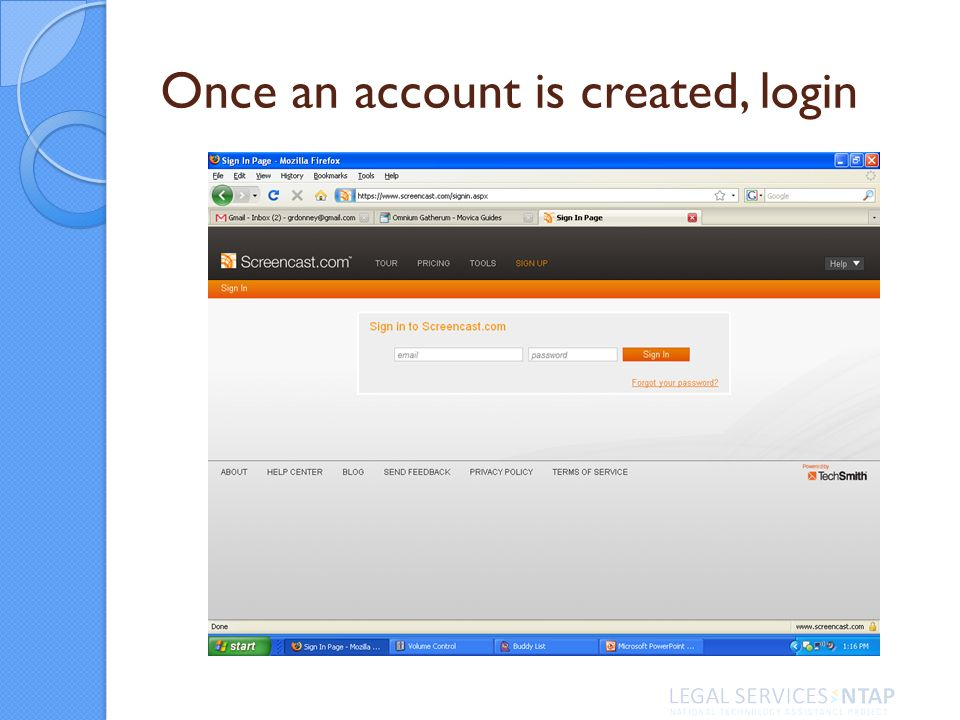 Once an account is created, login