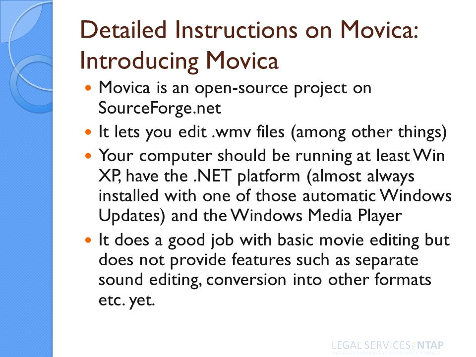 Detailed Instructions on Movica: Introducing Movica Movica is an open-source project on SourceForge.net It lets you edit.wmv files (among other things