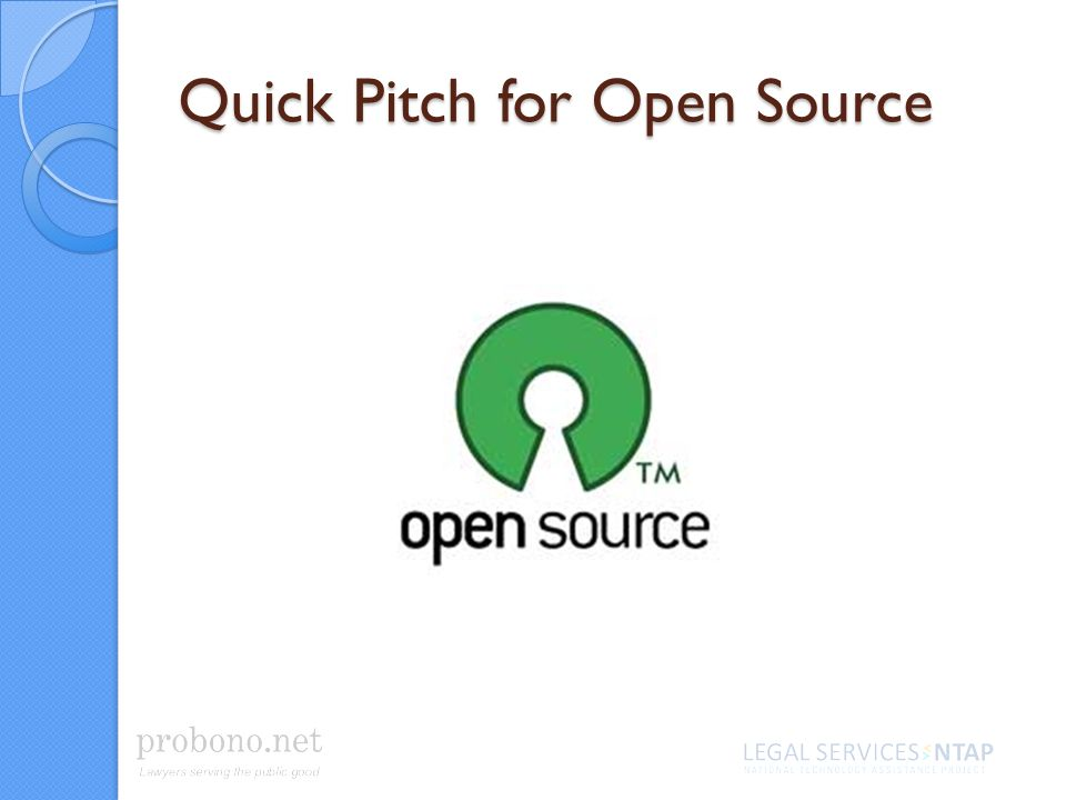 Quick Pitch for Open Source
