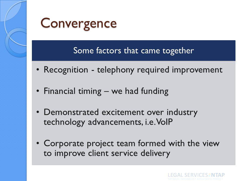Convergence Some factors that came together Recognition - telephony required improvement Financial timing – we had funding Demonstrated excitement over industry technology advancements, i.e.