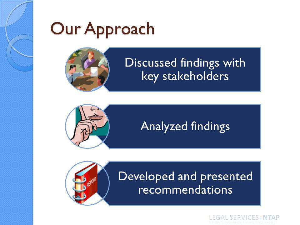 Our Approach Discussed findings with key stakeholders Analyzed findings Developed and presented recommendations