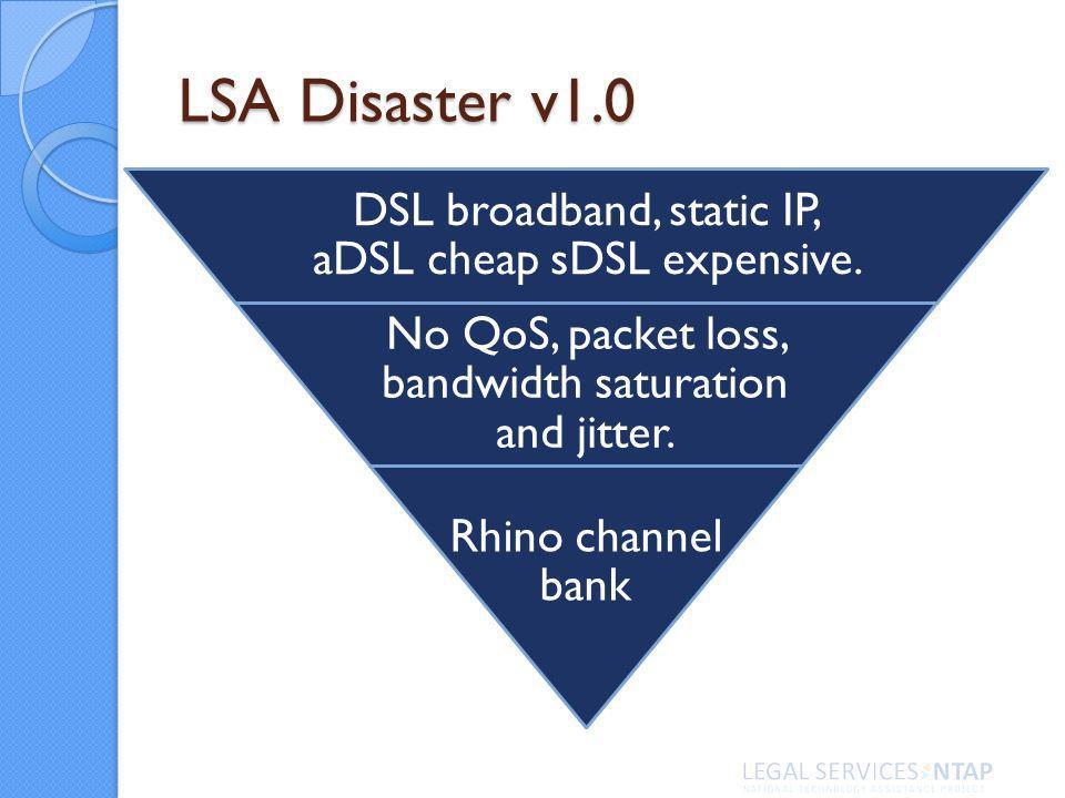 LSA Disaster v1.0 DSL broadband, static IP, aDSL cheap sDSL expensive. No QoS, packet loss, bandwidth saturation and jitter. Rhino channel bank