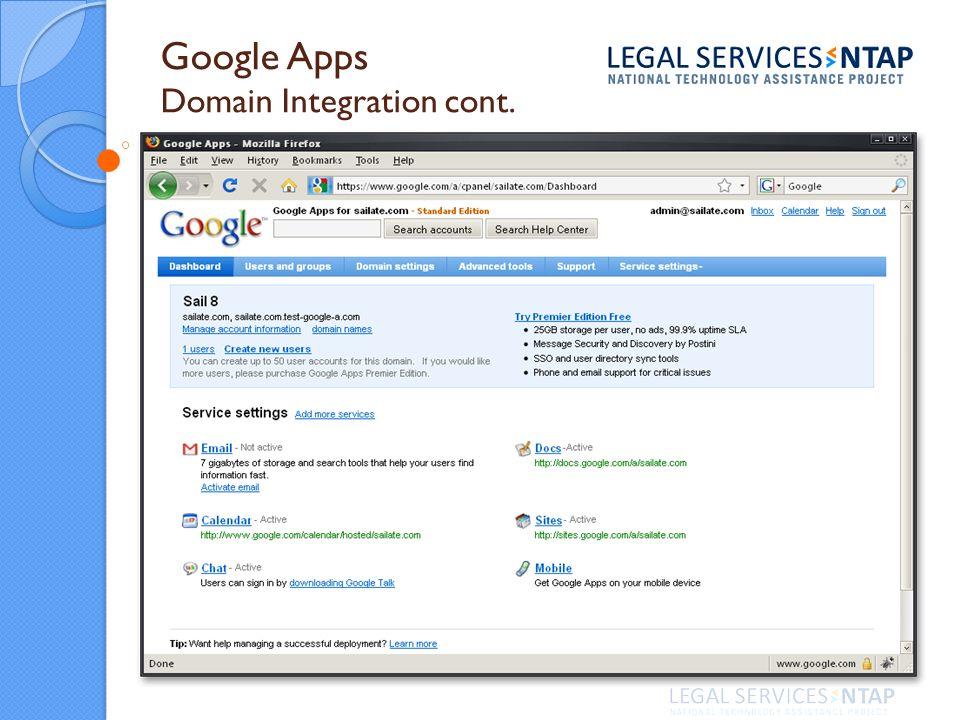 Google Apps Domain Integration cont.