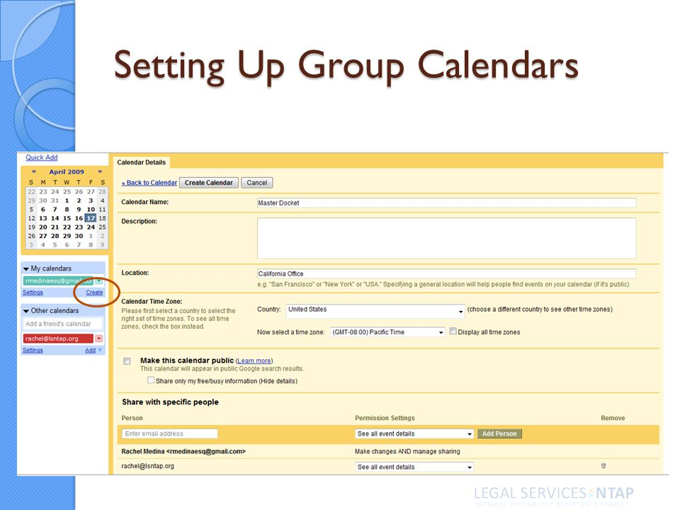 Setting Up Group Calendars