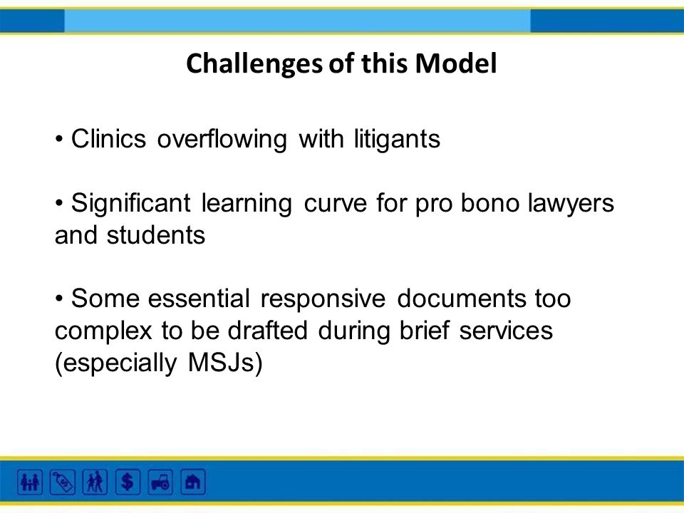 Challenges of this Model Clinics overflowing with litigants Significant learning curve for pro bono lawyers and students Some essential responsive doc