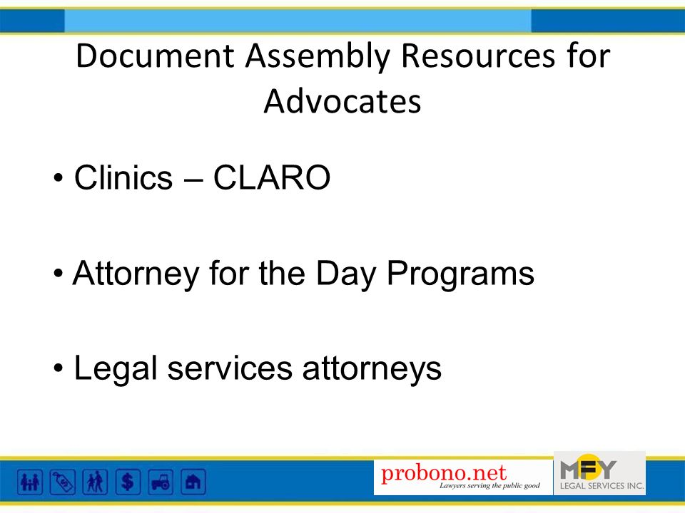 Clinics – CLARO Attorney for the Day Programs Legal services attorneys Document Assembly Resources for Advocates