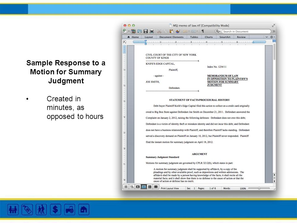 Sample Response to a Motion for Summary Judgment Created in minutes, as opposed to hours