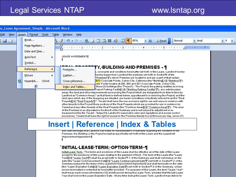 Insert | Reference | Index & Tables