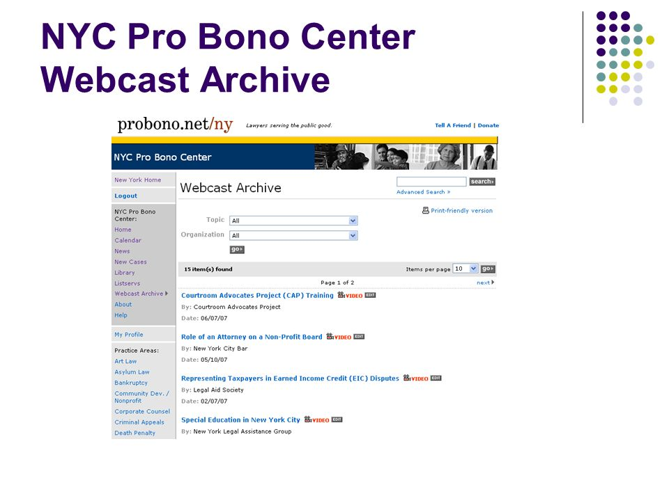 NYC Pro Bono Center Webcast Archive
