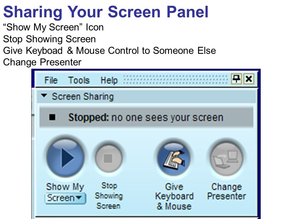 Sharing Your Screen Panel Show My Screen Icon Stop Showing Screen Give Keyboad & Mouse Control to Someone Else Change Presenter