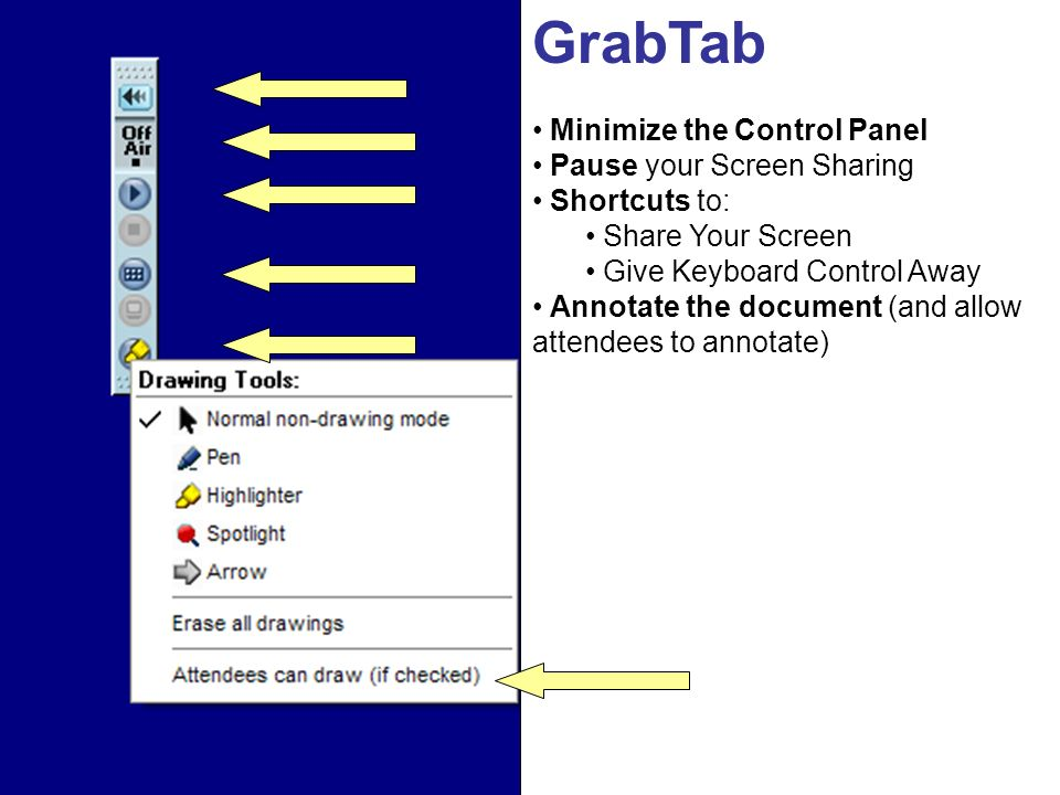GrabTab Minimize the Control Panel Pause your Screen Sharing Shortcuts to: Share Your Screen Give Keyboard Control Away Annotate the document (and allow attendees to annotate)