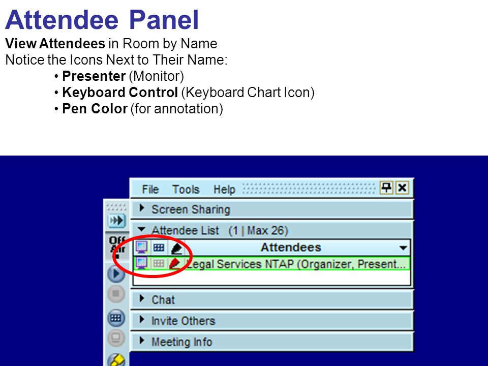 Attendee Panel View Attendees in Room by Name Notice the Icons Next to Their Name: Presenter (Monitor) Keyboard Control (Keyboard Chart Icon) Pen Color (for annotation)
