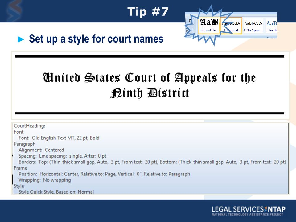Tip #7 Set up a style for court names