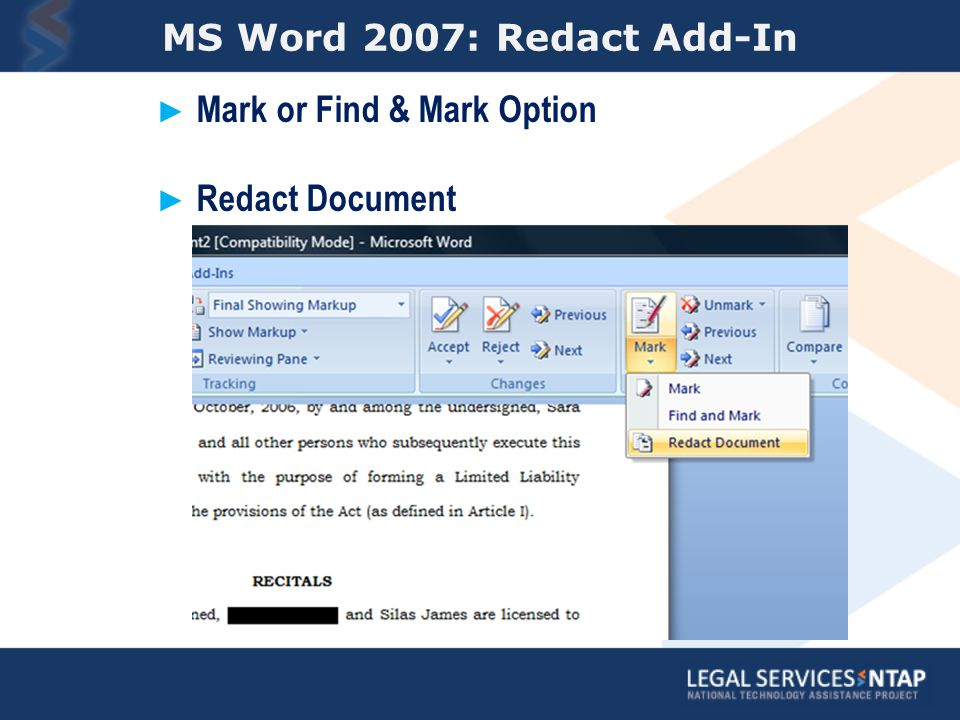 MS Word 2007: Redact Add-In Mark or Find & Mark Option Redact Document