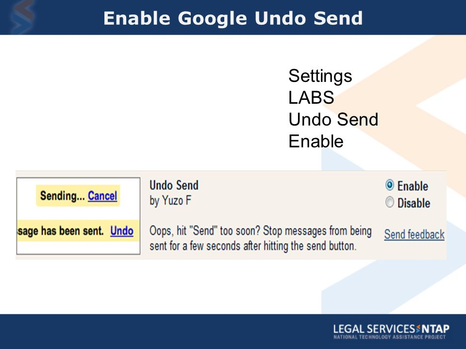 Enable Google Undo Send Settings LABS Undo Send Enable