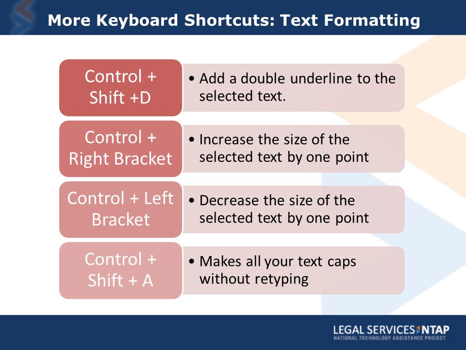More Keyboard Shortcuts: Text Formatting Add a double underline to the selected text.