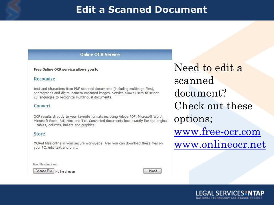 Edit a Scanned Document Need to edit a scanned document.