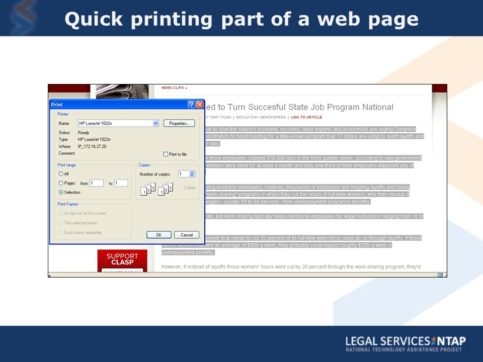 Quick printing part of a web page