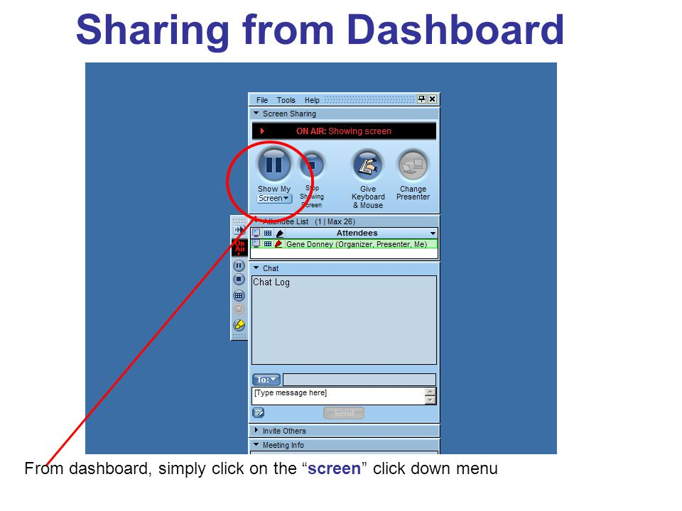 From dashboard, simply click on the screen click down menu Sharing from Dashboard
