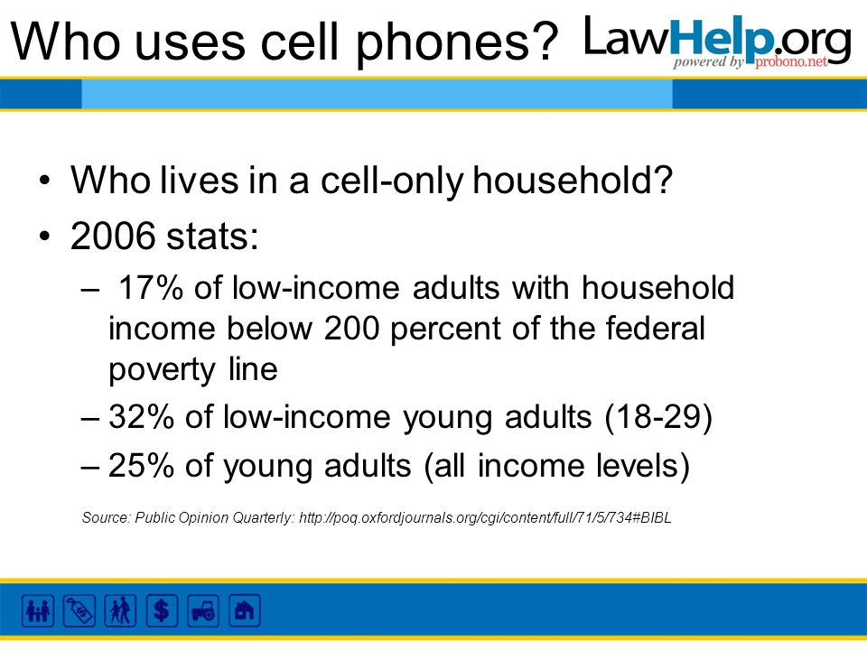 Who uses cell phones. Who lives in a cell-only household.