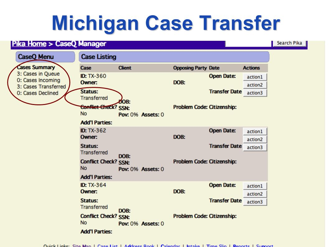 Michigan Case Transfer